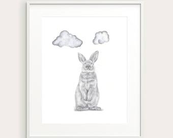 Bunny, Clouds. Nursery Art. Kid's Room Print. Kid's Decor. Baby's Room. Baby Decor.Baby Animal. Baby Rabbit. Nursery Animal. Nursery Print.