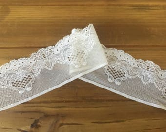 5yds Elastic Lace Trim 2'' Ivory Stretch Lace Headband Lingerie Lace Trim Bra