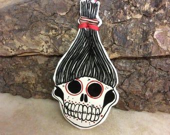 Handmade ceramic Shrunken head decoration