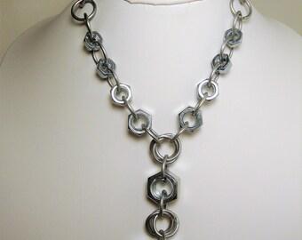 Lariat Necklace,Y Necklace, Geometric Jewelry, Industrial Jewelry, Minimalist Jewelry, Hardware Jewelry, Galvanized Steel, Steel Jewelry,