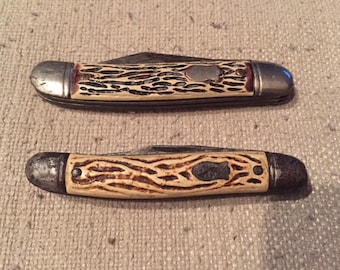 Pair of Vintage Colonial 2 Blade Pocket Knives