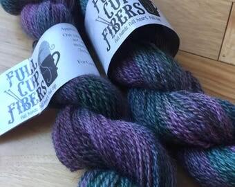 200 yd wool/mohair/angora blend 70/15/15 hand dyed