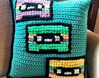 Cassette Tape Pillow, Crochet Cassette Tape Pillow, Decorative Cassette Tape Pillow, 90's Throwback Pillow