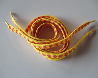 Yellow shoelace with blush polyester 1.10 m.