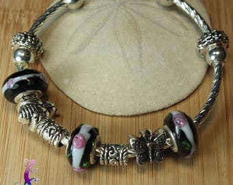 Bangle Bracelet European style with metal bee and Butterfly charms and black and white glass beads PAND43