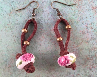 Rose Leather Earrings