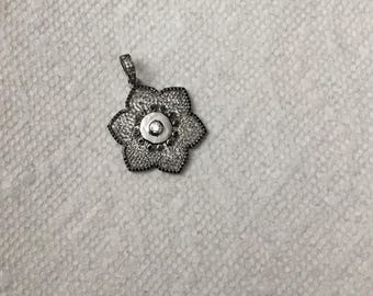 Pave white topaz  and black spinal charm