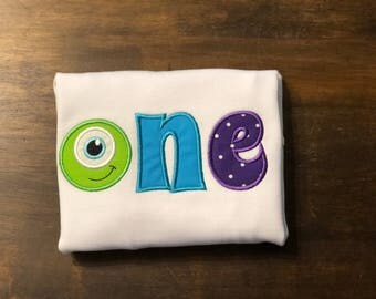 Monter Inc. One First 1st Birthday Shirt Onesie Bodysuit // Mike 1st First Birthday Shirt Onesie  // Monster First Birthday Shirt