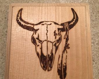 Bull skull woodburning