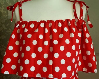 Red polketdot off the shoulder dress