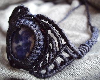 Unisex Macrame Asymmetric bracelet with natural stone healing