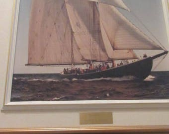 "MAURICE CROSBY Artwork...""Bluenose II""...Print/Photo On Canvas...Signed/Framed...Nice!!!"