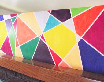 Long Narrow Geometric Painting Acrylic on Wood Blue Green Purple Red Gold Yellow Wall Art Modern Abstract Original 12x36 Bold wall art