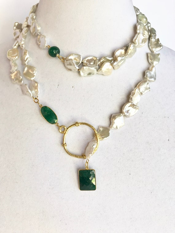 """Pearl and Emerald Long Necklace, Keshi Pearl Necklace, Wrap necklace, Long Necklace, Lariat necklace, 22K Gold Plated, 39.5"""" Long"""