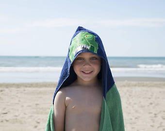 Childrens Hooded Towel- Dinosaur Hooded Towel - Hooded Pool Towel - T-Rex Hooded Towel - Kid Bath Towel - Trex - Little Kid Beach Towel