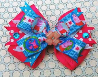 Peppa Pig Snap Stack Hair Bow Headband Flower Polka Dot Preschool