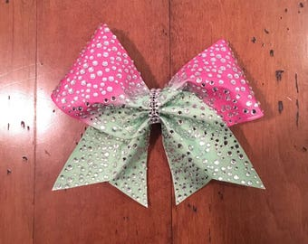 Sublimated rhinestone ombre bows