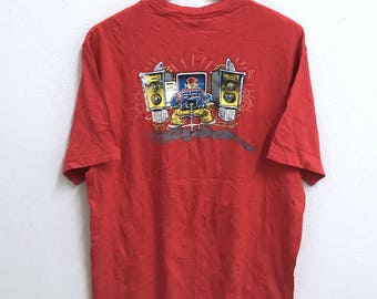 RARE!!! Stussy Streetwear Skateboard Big Logo Crew Neck Red Colour T-Shirts M Size