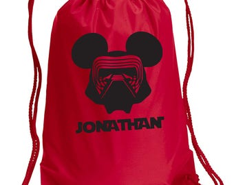 Disney Backpack,Kylo Ren,Star Wars Inspired Bag,drawstring bag,Disney Bag,Kylo Ren Day Bag,Disney bag,Mickey Drawstring bag