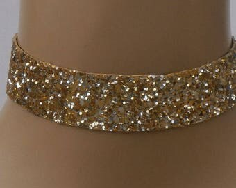 Gold Glitter Choker Satin Ribbon Ties FREE SIZE