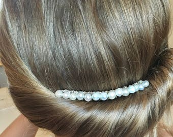Ivory Pearl bridal decorative comb, Bridesmaid hair comb, wedding hair comb, decorative comb, flower girl hairpiece, Bridal, First Communion