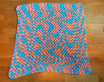 Unique Handmade Crochet Square Multi-Coloured Granny Baby Blanket