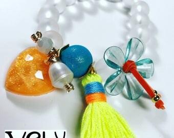 Crystal and resin bracelet
