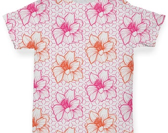 Pink Flower Pattern Baby Toddler Novelty ALL-OVER PRINT Baby T-shirt