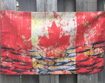 """Canada Flag tea towel, 16x25"""",  designed from my original painting, 100% cotton, FREE SHIPPING Canada wide"""