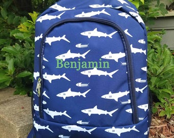 Personalized Navy Shark Backpack for boys Back to School Sharks monogram backpack monogram Shark book bag