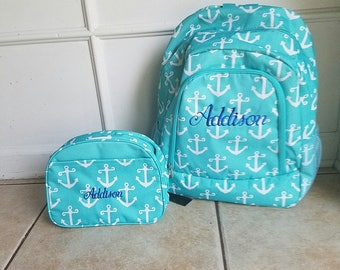 Aqua Anchor backpack and lunch bag
