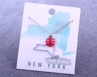 Customizable! State of Mine: New York Basketball Enamel Necklace - Great Basketball Gift!