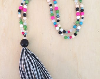 Black and White Gingham Tassel Necklace,Colorful Beaded Tassel Necklace, Multi Bead Necklace, Long Beaded Necklace, Preppy Necklace