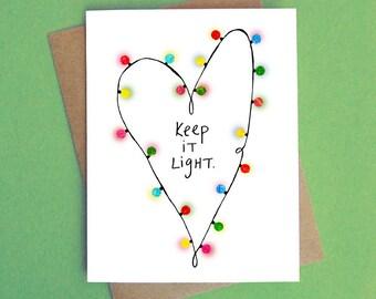 Keep It Light, Holiday Card, Funny Card, Greeting Card, Blank Card, Season's Greetings