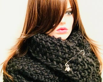 Hand-knit Wool Charmed Snood