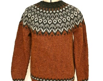 Wool sweater  Icelandic pattern