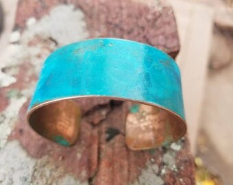 Aqua blue torquise bracelet, gift for her, green, painted bracelet, antique bangle, birthday gift, boho jewelry, copper cuff, anniversary