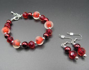 Red Beaded Single Strand Bracelet with Matching Earrings Handmade Jewelry