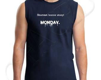 Horror Monday Adults Muscle Tee Monday Fear Homor Men's Sleeveless T-Shirt Shortest horror story  - 1671C_GMMT