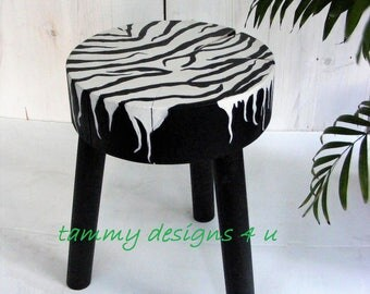 Plant Stand, Zebra Print,  Outdoor Side Table, Zebra Decor,  Reclaimed Wood, Safari Decor