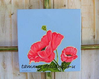 Acrylic Painting Flowers, Red Poppies in Acrylic, Wall Decor, Poppy Decor, Handpainted Poppies, Housewarming Gift