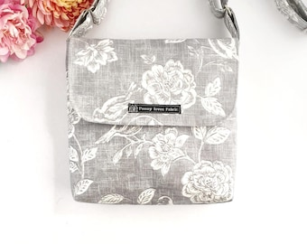 Mothers day gift, Floral crossbody bag, Floral purse, fabric purses, grey purse, grey floral bag, fabric bags, floral handbags