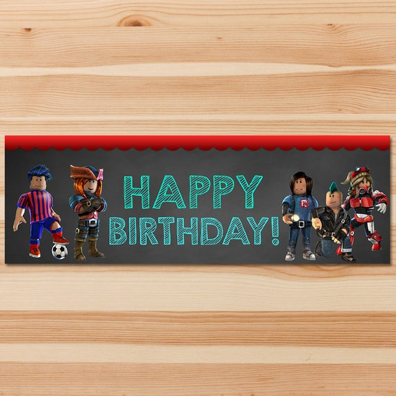 Roblox Happy Birthday Banner 1x 3 Feet - Chalkboard - Roblox Birthday Banner - Roblox Birthday Party - Roblox Party - Roblox Printable Sign