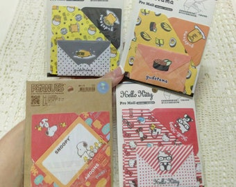 Snoopy Letter Gudetama Letter Paper Hello Kitty Invitations Stationery Mini Card Paper Supplies Lazy Egg Mini Mail Memo