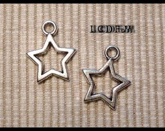* ¤ Set of 2 pendants charms * Star * Silver - 17x22mm ¤ * #PC26