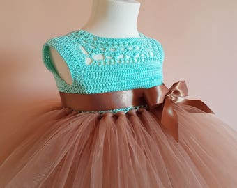 SAMPLE SALE size 9-12 months, 70%OFF, tutu dress,brown tutu dress, flower girl dress, bridesmaid dress, crochet dress, crochet yoke dress