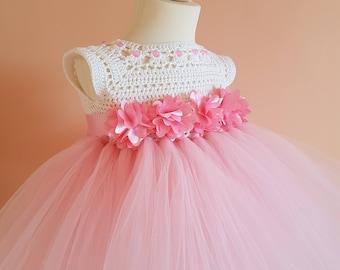 pink tutu dress, crochet dress,toddler dress,princes dress, birthday dress, pink dress,crochet yoke, bridesmaid dress, baptism dress