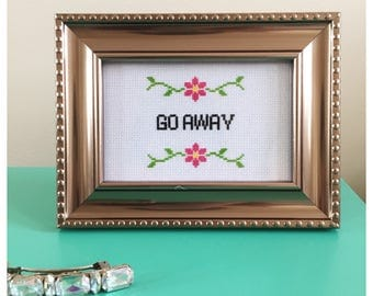 Go Away Completed Cross Stitch in Bronze Ornate Frame