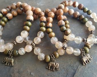 Mala Safari bracelet, meditation, woman gift, yoga bracelet, zen jewel, citrine, green sandalwood, landscape jasper, abundance bracelet