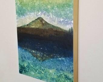 TRILLIUM TWILIGHT, Forest Rain Painting, limited edition print on panel, Mt Hood, Oregon